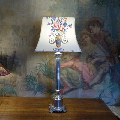 Large 19th Silver Bronze Lamp