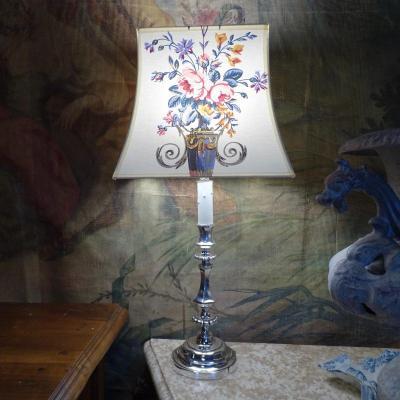 19th Silver Bronze Lamp