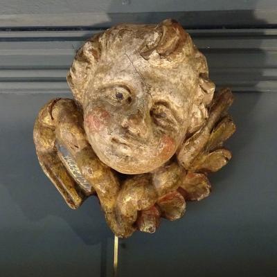 Tête d'Ange En Bois Sculpté Polychrome