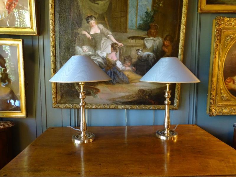 Paire De Lampes En Bronze Ciselé 19ème-photo-2