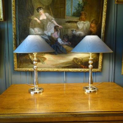 Pair Of 19th Chiseled Bronze Lamps