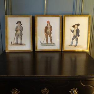 Ensemble De 3 Gouaches,  Paysans Début XIXème