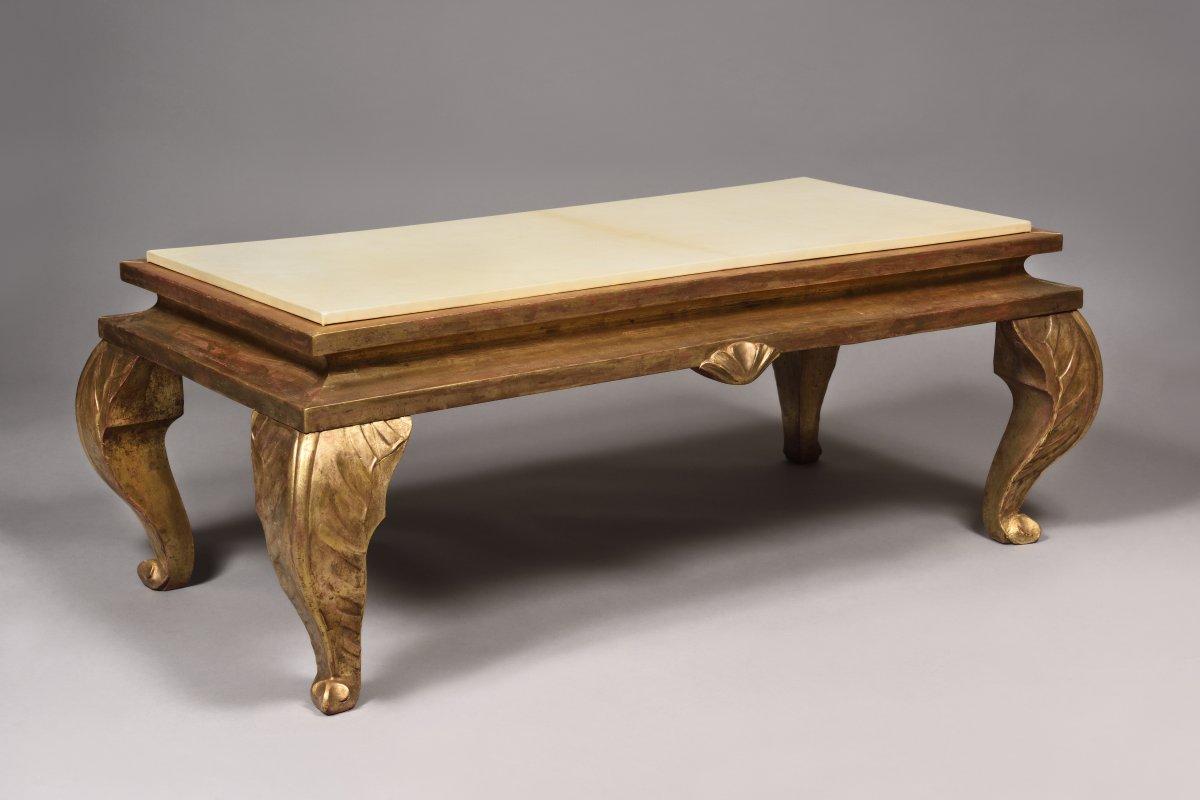 Golden Wood Coffee Table - Maison Jansen