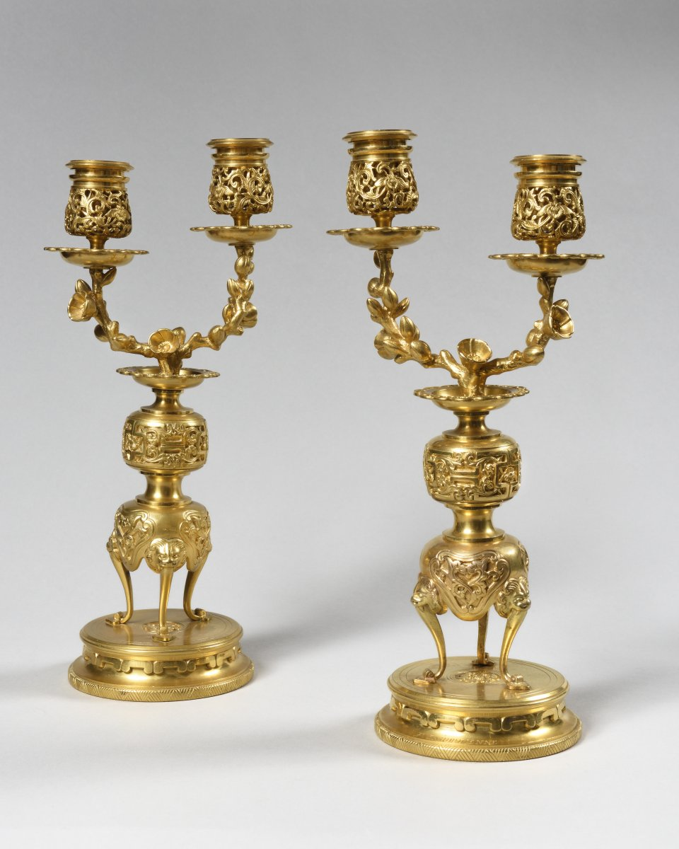 Pair Of Ormolu Candelabras, Lievre And Barbedienne, Signed
