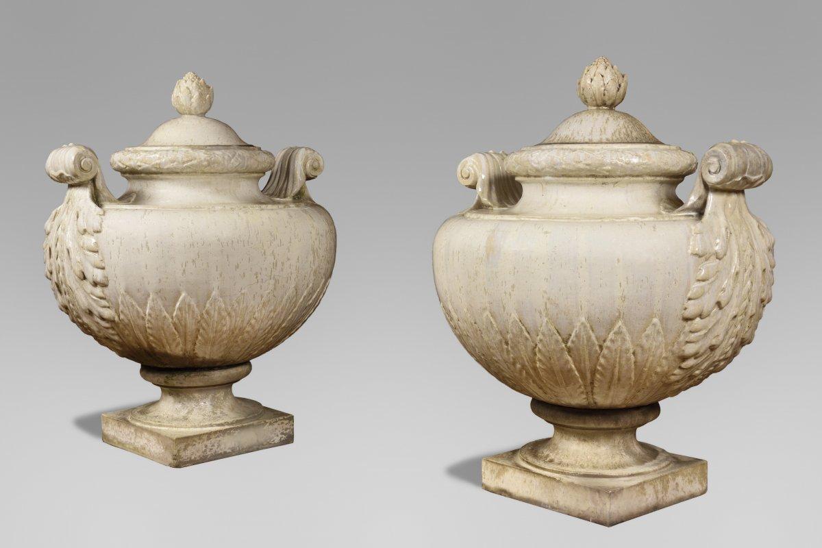 Emile Muller. Paire De Vases Couverts En Grès émaillé, Vers 1880