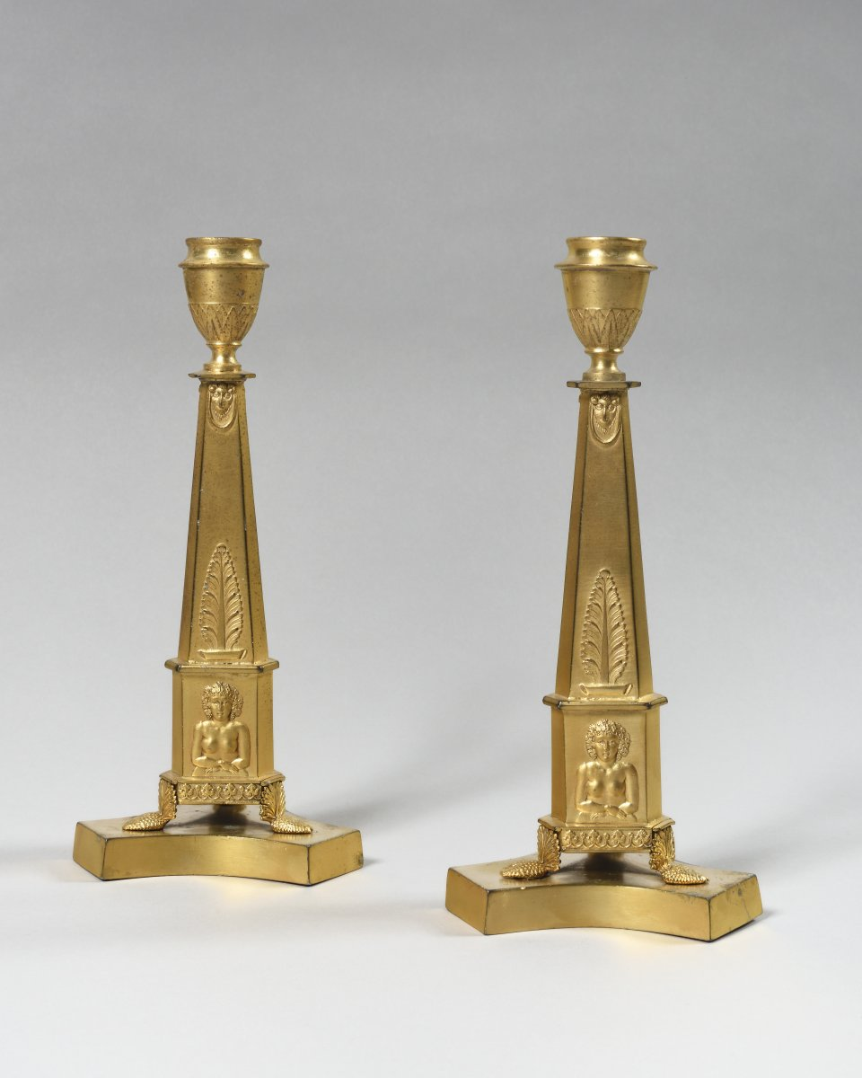 Pair Of  Gilded Pewter Candlesticks – England - Beginning Of The 19th Century
