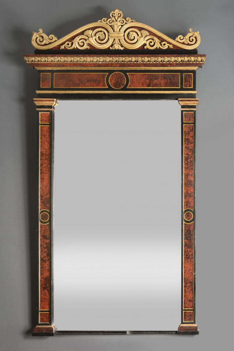 Wooden Mirror Painted In Trompe l'Oeil - Genoa - 1820s-1830s