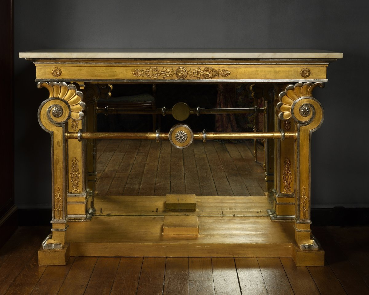 Gilded And Silvered Wood Console - First Quarter Of The 19th Century