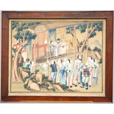 Série de sept aquarelles chinoises fin XVIII début XIX