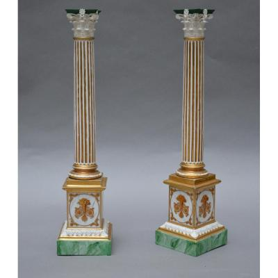 Paire de colonnes en porcelaine