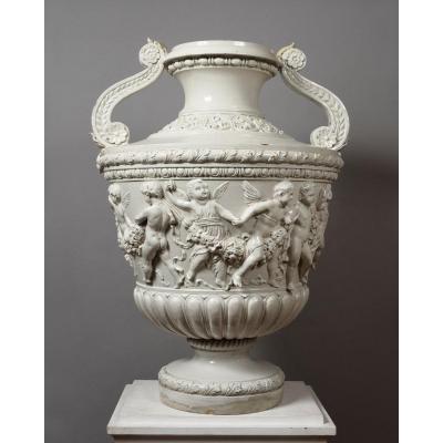 Grand Vase En Faïence Blanche - Giuseppe Cantagalli