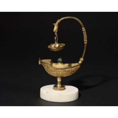Lampe à Huile En Bronze Doré - XVIIIe siècle