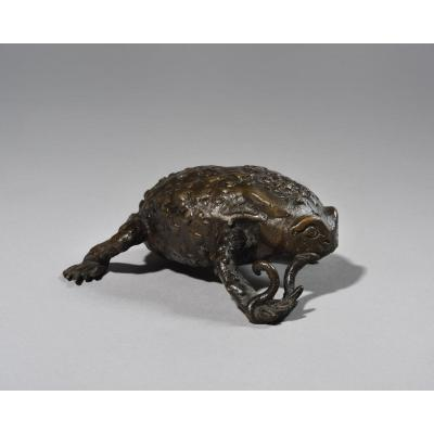 Patinated Bronze Toad - Northen Italy - 16th Or 17th Century