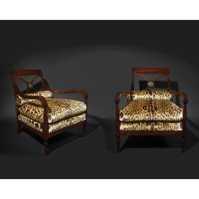 Maurice Hirsch For The Maison Jansen - A Pair Of Neoclassical Style Armchairs - Circa 1940