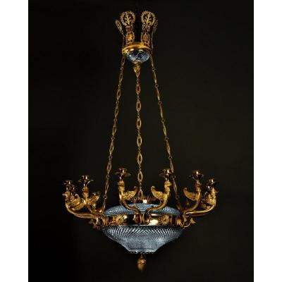 Lustre en cristal taillé et bronze doré - Saint-Petersbourg vers 1820 -