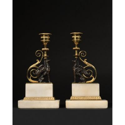 Pair Of Patinated And Gilded Bronze Candleholders - George II Period -