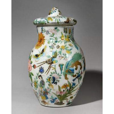 Covered Vase With Chinese Motifs - Glass Fixed With Engravings - Early 19th Century