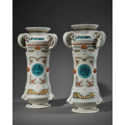 Théodore Deck (1823-1891) - Pair Of Vases In The Shape Of Albarelli, 1855-1860.
