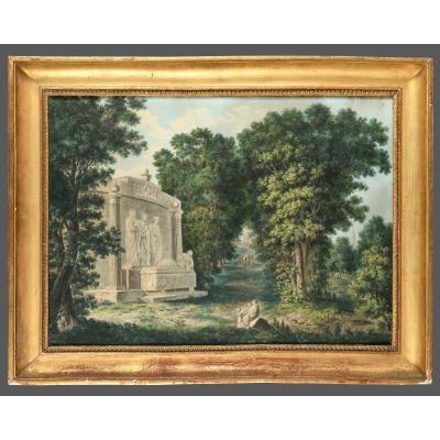 French School - Landscape With A Tomb - 19th Century