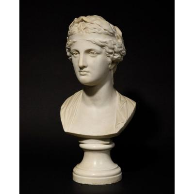 Marble Bust Representing The Muse Urania - 19th Century