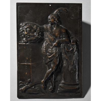 Ecole Italienne – Plaque En Bronze Représentant David Tenant La Tête De Goliath – XVIIIe