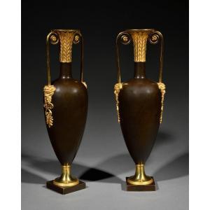 Paire De Vases Fuseau Attribués à Claude Galle – Epoque Directoire