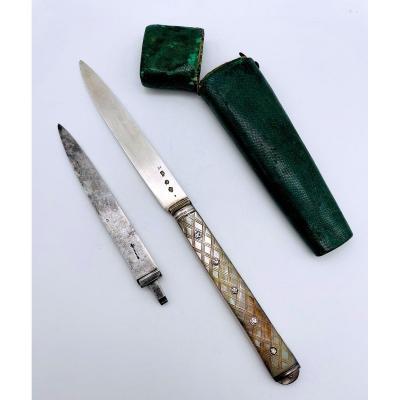 Couteau à Système XVIIIeme En Argent 1773