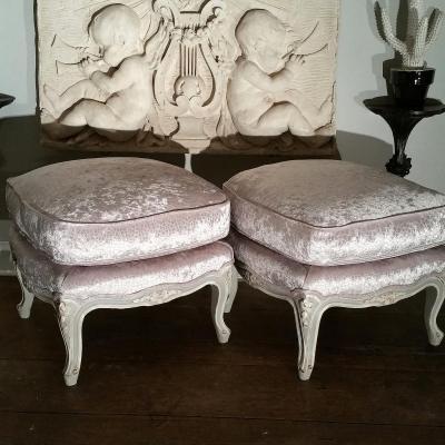 Paire De Tabourets Patinés Style Louis XV