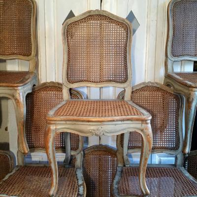 Huit Chaises Cannées Patinées Style Louis XV