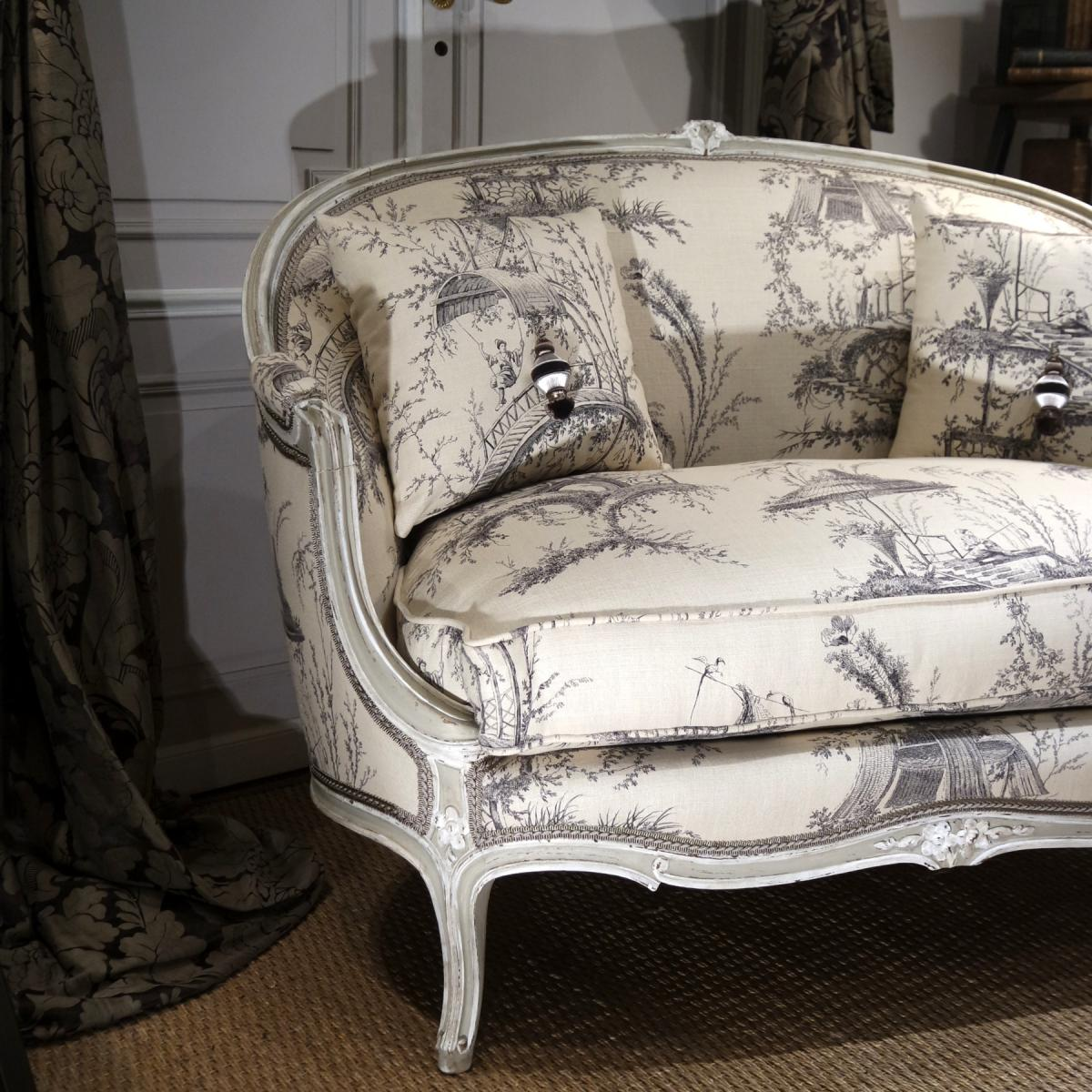banquette corbeille style louis xv banquettes canap s. Black Bedroom Furniture Sets. Home Design Ideas