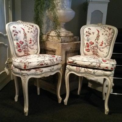 Paire De Chaises Style Louis XV - chaises - tabourets