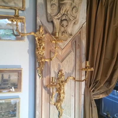 Paire Appliques Bronze Doré Style Régence