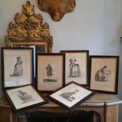Ensemble De 6 Planches De la Galerie Des Modes