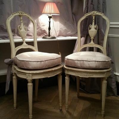 Paire Chaises Cannées Style Louis XVI