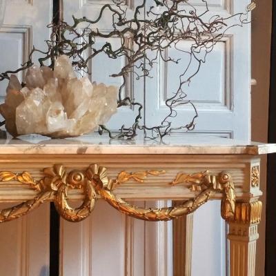 Table De Milieu Bois Peint Et Doré De Style Louis XVI