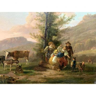 Huile Sur Panneau Jean Louis Demarne (1752-1829)