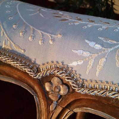 Paire Banquettes De Pieds Style Louis XV