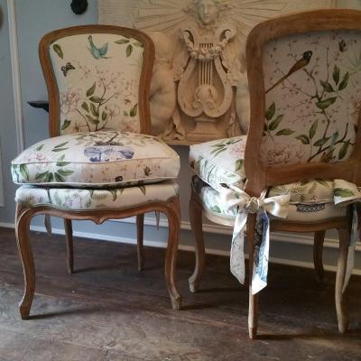 Paire Chaises Bois Naturel Style Louis XV