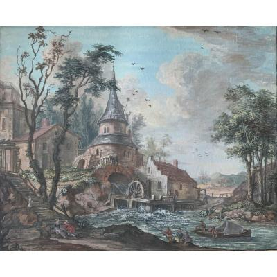 Paire De Gouaches Par J.L Favre 1771