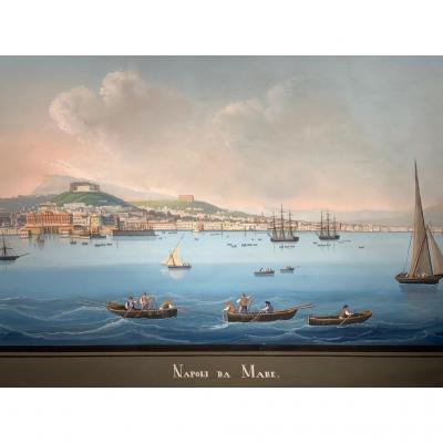 Gouache Napolitaine circa 1850.