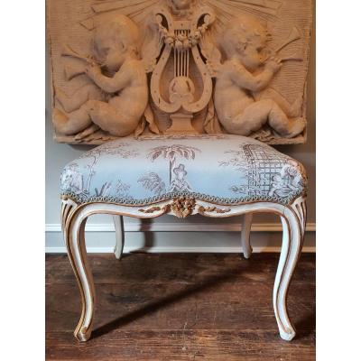 Tabouret Bois Laqué et doré de Style Louis XV