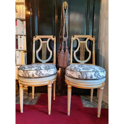 Paire De Chaises Lyre Epoque Louis XVI