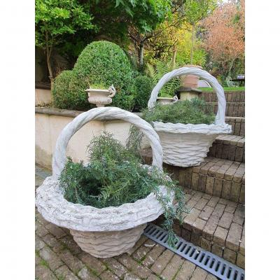 Paire De Vasques De Jardin En Forme De Panier XXeme