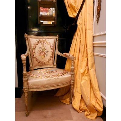 Fauteuil Cabriolet De Style Louis XVI