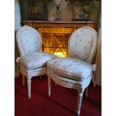 Paire De Chaises Epoque Louis XVI