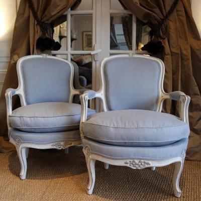 Paire De Chauffeuse-cabriolets Epoque XIXème Style Louis XV