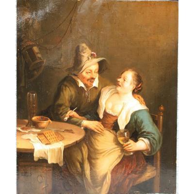 Maître Flamand Du 17ème Siècle - Couple De Paysans Buvant - Huile Sur Bois