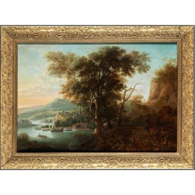 Herman Saftleven - Paysage Rhénan Au Coucher Du Soleil - 1644
