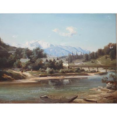 Beautiful Alpine Landscape - Master Of The 19th Century - Very Fine Painting