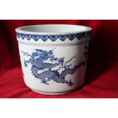 Grand Jardinière En Porcelaine Bleu Blanc - Chine -
